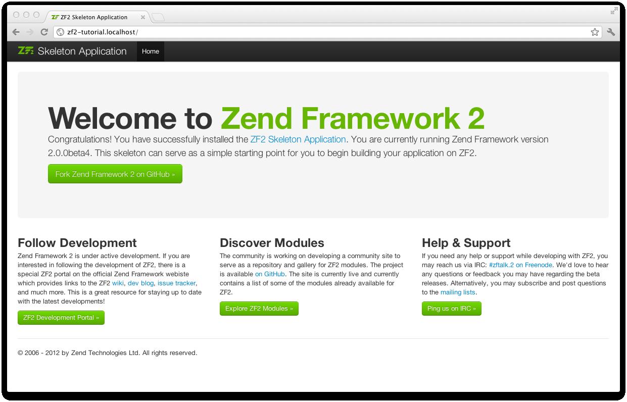 Getting started: A skeleton application — Zend Framework 2 2 3 1